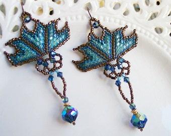 Winter Blues Art Nouveau Chandelier Earrings, Gift for Her, Stocking Stuffer, Seed Bead Jewelry, Swarovski Vintage Crystal, Handmade, Woven