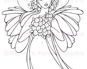 Digital Stamp Image Fairy Wings Flowers Floral Girl Dress Stamping Cardmaking Scrapbooking