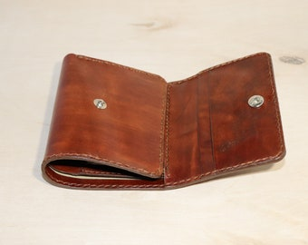 EDC/Trifold Leather Wallet/Men's Wallet/Women's wallet/Full Grain Vegetable Tanned Leather/Personalized/with coin purse/Gifts for her/him