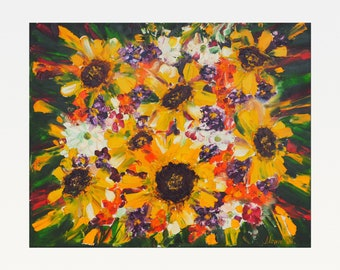 Summer Bouquet with Sunflowers - Original Oil Painting on Canvas - Flowers - Modern Art
