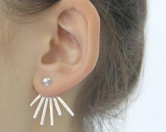 Sun Ray Earrings, Spikey Ear Jackets, Silver Earrings, Ear Jackets, Sterling Silver, Earrings, Sunburst Earrings, Silver Ear Jackets, Silver