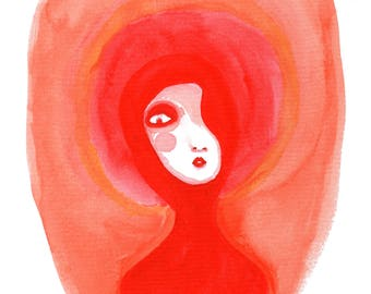 Red lady, quirky, weird, art, watercolour, art print, illustration