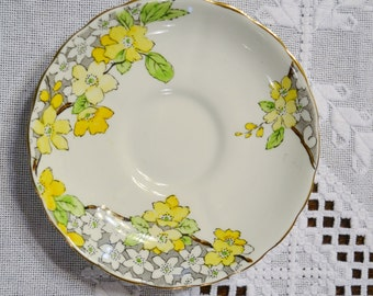 Vintage Tuscan Saucer Bone China Yellow Green Floral Made in England Replacement PanchosPorch