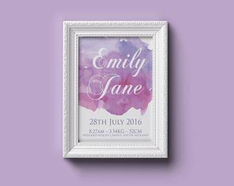birth print, baby, Birth detail, birth announcement, wall art, newborn keepsake, water colour