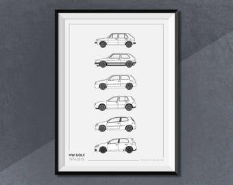 Volkswagen Golf Generations Evolution Car Collection Print