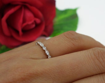 Art Deco Full Eternity Ring, Marquise Round Wedding Band, Delicate Engagement Ring, Man Made Diamond Simulant, Stacking, Sterling Silver