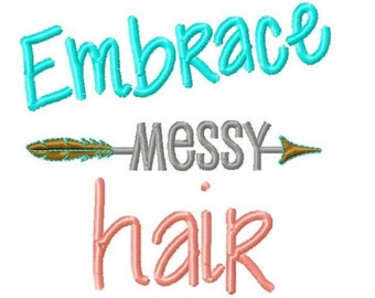 Embrace Messy Hair Embroidery Design