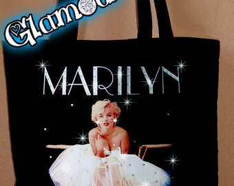 Marilyn Monroe Ballet Ballarina Rhinestone Crystal Tote Bookbag Book Bag Purse Glamour Rocks Glamourrocks