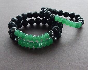 Emerald Gemstone & Lava Rock Bracelet Unisex Perfect For A Man or Woman