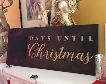 Days Until Christmas Sign, Christmas Countdown, Christmas Decorations, Gold Metallic Font, Chalkboard Sign, Christmas Chalkboard