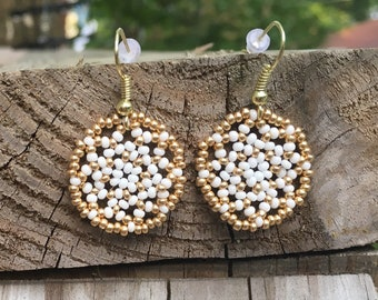 Gold & White Floral Circles Earring/ Huichol inspired