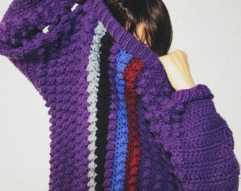 Purple Handmade Cable Knit Sweater