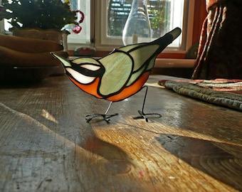 Nuthatch stained glass bird suncatcher
