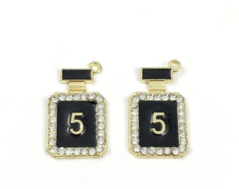 2 perfume bottle charms  gold tone and enamel,17mm to 29mm  #CH 158