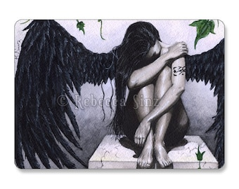 Dark Angel II ACEO Print Gothic Art Sad Gray Tattoos Artist Trading Cards ATC Fantasy Art