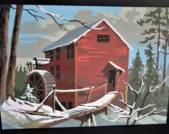 Vintage Mill on Stream Winter Scene Paint by Number Unframed 10 by 14 inches