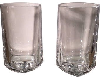 Pair of Signed Nambe Crystal Highball Glasses