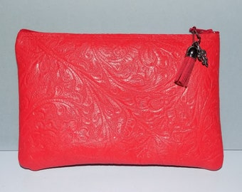 Embossed Red Leather,Zip Clutch Bag