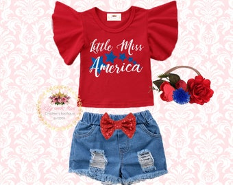 4th of July baby girls outfit, little miss USA girl outfit, Patriotic denim short outfit,first fourth girls denim short outfit