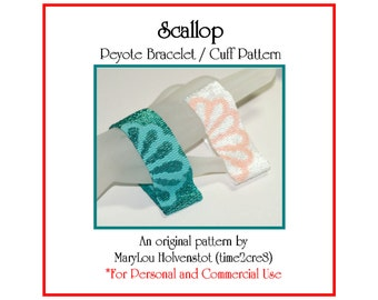 Peyote Bracelet Pattern ... SCALLOP ... Seashell . Beachcomber . Ocean . Scallop Shell . Two Color . Three Drop Peyote . PDF Tutorial