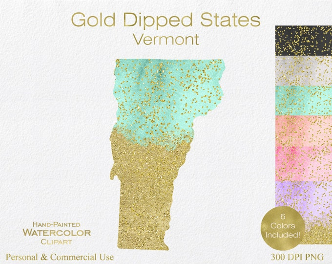 WATERCOLOR & GOLD VERMONT Clipart Commercial Use Clipart United States Shapes Wedding Clipart Gold Confetti Dust Vermont Clip Art Graphics