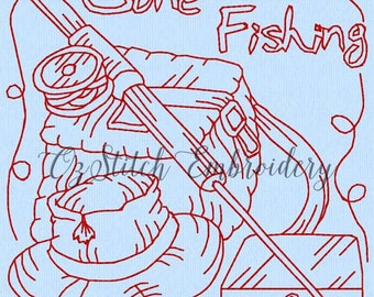 Machine embroidery redwork pattern.  Gone fishing 4 of 10. ** Instant Download ** 3 sizes.