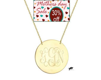 """Monogram necklace - personalize gold monogram necklace 1"""" gold plated 18k on .925 silver"""