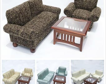 1:12 Dollhouse Miniature sofa for dolls Furniture toy Wooden living room Sofa table set Kids pretend Play Toys for girls gifts