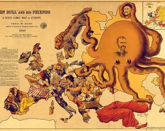 John Bull & Friends Serio-Comic Map Europe 1900. Art Print/Poster (5170)