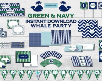 Navy & Green Whale Party - Baby Shower or Birthday Party - Printable PDF Files - INSTANT DOWNLOAD