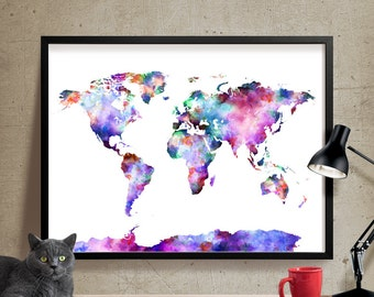 World map poster watercolor world map art print art world map art print world map poster large watercolor world map art artwork world map wall art painting 07 gumiabroncs Images