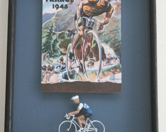 framed Tour de France cyclist model