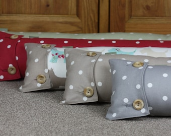 Draught Excluder Draft Excluder Shabby Chic Fabric Handmade in Polka Dot Spotty in Taupe Beige, Grey, Green, Red & Scottie Dog