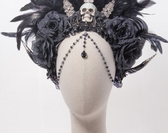 Silver and black rose spiked skull steampunk necromancer horn headdress gothic feather glamour crown