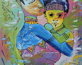 We are,African painting,oil paint on canvas,African art,Hand painting.