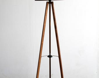 Floor Lamp, Industrial Decor, Tripod Floor Lamp, Wooden Lamp, Living Room Decor, Industrial Lamp, Primitive Country Furniture, Gift Lamp