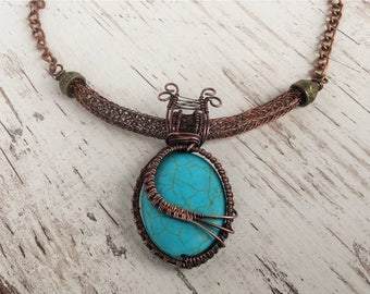 Turquoise wire wrapped necklace with Viking knitting