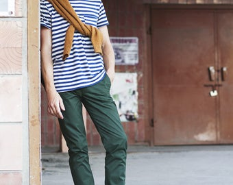 Forest Green Chinos | Chino Pants / Slacks for Men | Business Casual Menswear