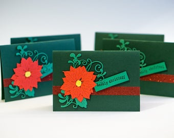 Set of 20 Christmas cards / 20 cards/ pinsettia and mistletoe/ handmade  card/ holiday gift card/ Christmas gift/ Set of 20