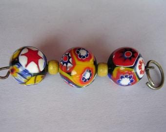 Vintage Moretti glass beads millefiori Venitian