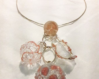 Coral  and Gold Cascade Necklace