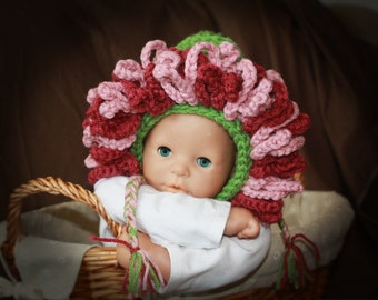 Sprintime Flower Bonnet (for Winter) pdf PATTERN (digital download), crochet, photo prop, hat for baby