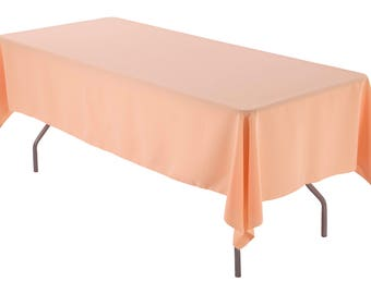 Lovely 60 X 102 Inch Rectangular Peach Tablecloth Polyester | Wedding Tablecloth