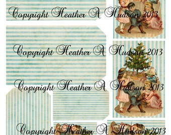 Shabby Vintage Victorian Christmas Tag Tree Children Digital Collage sheet