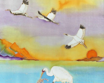 Hand Painted Silk Wall Hanging 24x24 - CRABBING, Endangered Whooping Cranes