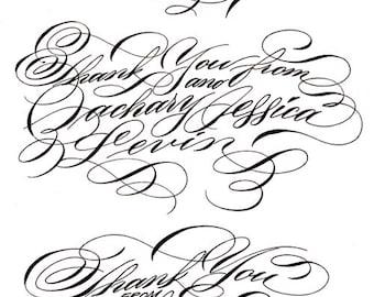 Thank You in Digital Calligraphy for printing newlywed bride wedding handmade