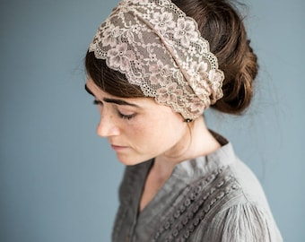 Mocha Rose Stretch  Lace Headband Garlands of Grace || Headwrap Headcovering Hair Veil Wedding