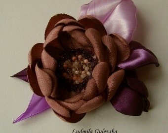 Handmade sienna satin flower brooch, flower clip & pin, embroidered flower