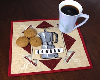 Coffee Lovers Mugrug, Quilted Snack Mat, Coffee Theme Mug Rug, Mini Placemat, Luncheon Mat, Handmade Beverage Mat, Mini Quilt, Mugrug Quilt
