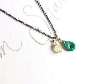 yellow gold sapphire turquoise necklace . sterling silver necklace . turquoise talisman necklace by peacesofindigo
